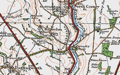 Old map of Bagendon in 1919