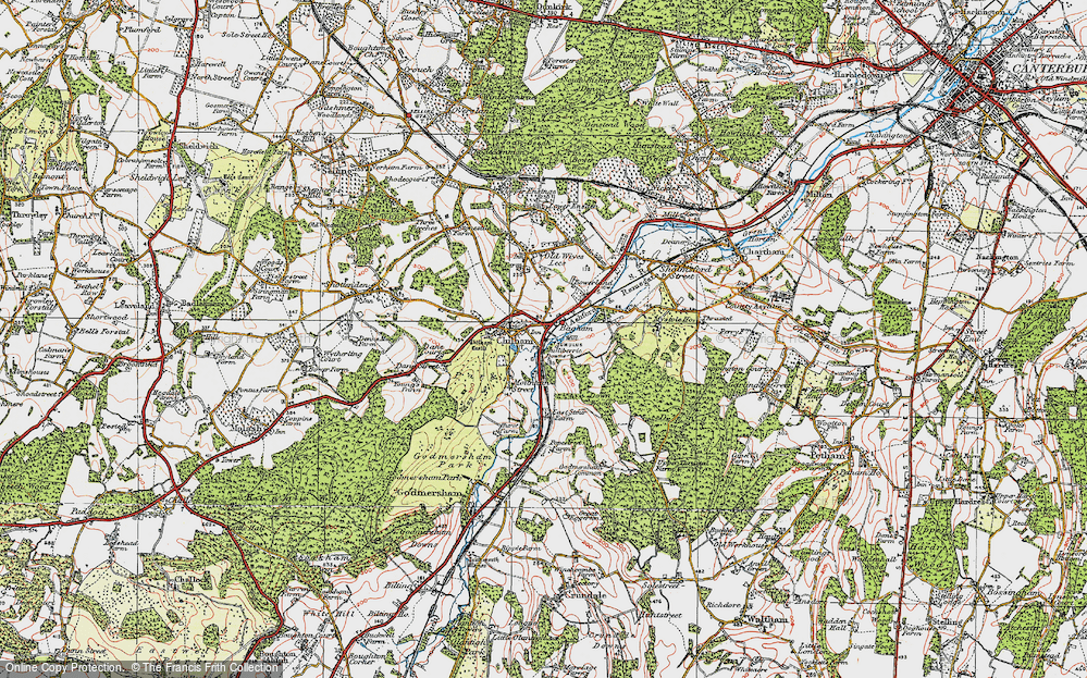 Old Map of Bagham, 1921 in 1921