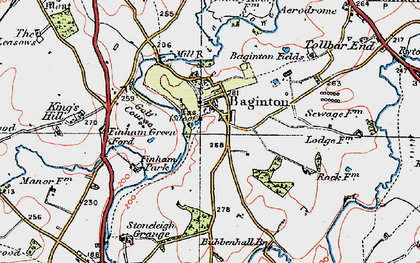 Old map of Baginton in 1920