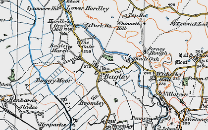Old map of Wycherley Hall in 1921
