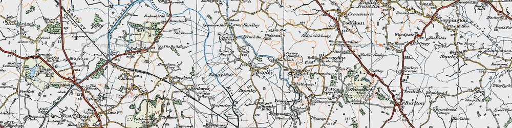 Old map of Whinnet Hill in 1921