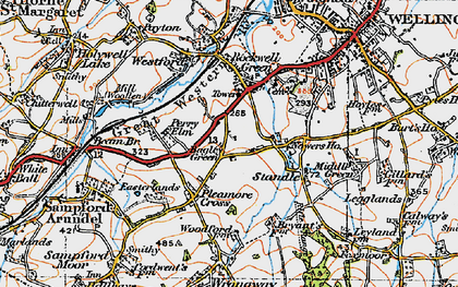 Old map of Bagley Green in 1919
