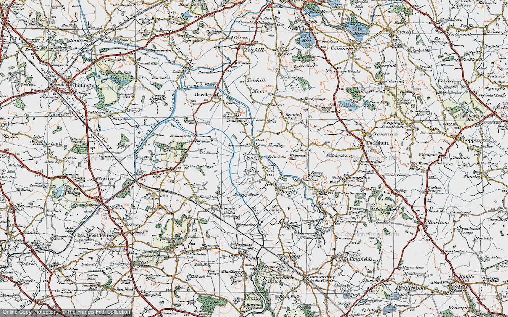 Old Map of Historic Map covering Baggy Moor in 1921