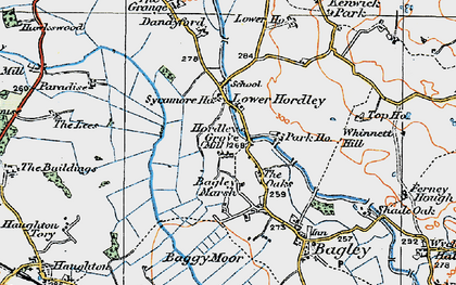 Old map of Baggy Moor in 1921