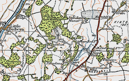 Old map of Bagshot in 1919