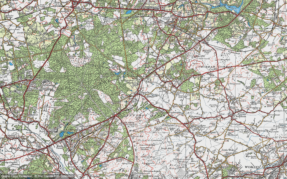 Old Map of Bagshot, 1920 in 1920