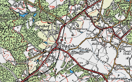 Old map of Bagshot Heath in 1920