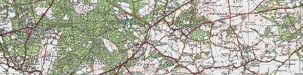 Old map of Bagshot in 1920