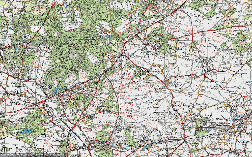 Old Map of Bagshot Heath, 1920 in 1920
