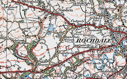 Old map of Bagslate Moor in 1924