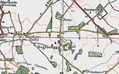 Old map of Bagthorpe in 1921