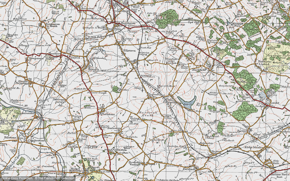 Old Map of Historic Map covering Bagworth Wood in 1921