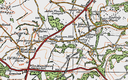Old map of Ashen Wood Ho in 1919