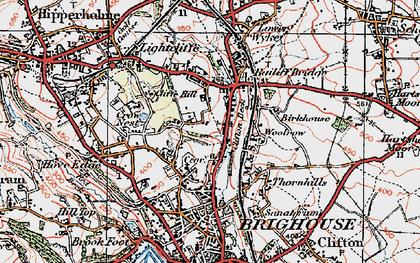 Old map of Bailiff Bridge in 1925