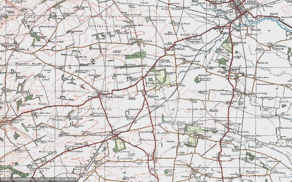 Old Map of Bainton, 1924 in 1924