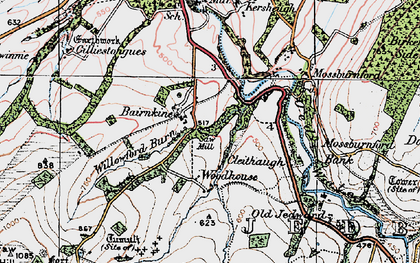 Old map of Willowford Burn in 1926