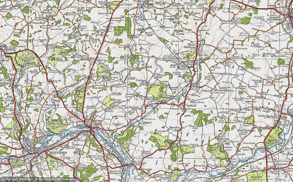 Old Map of Bakers End, 1919 in 1919