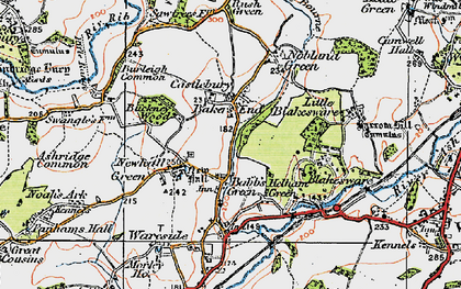 Old map of Bakers End in 1919