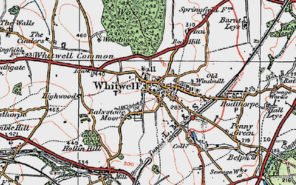 Old map of Whitwell Common in 1923
