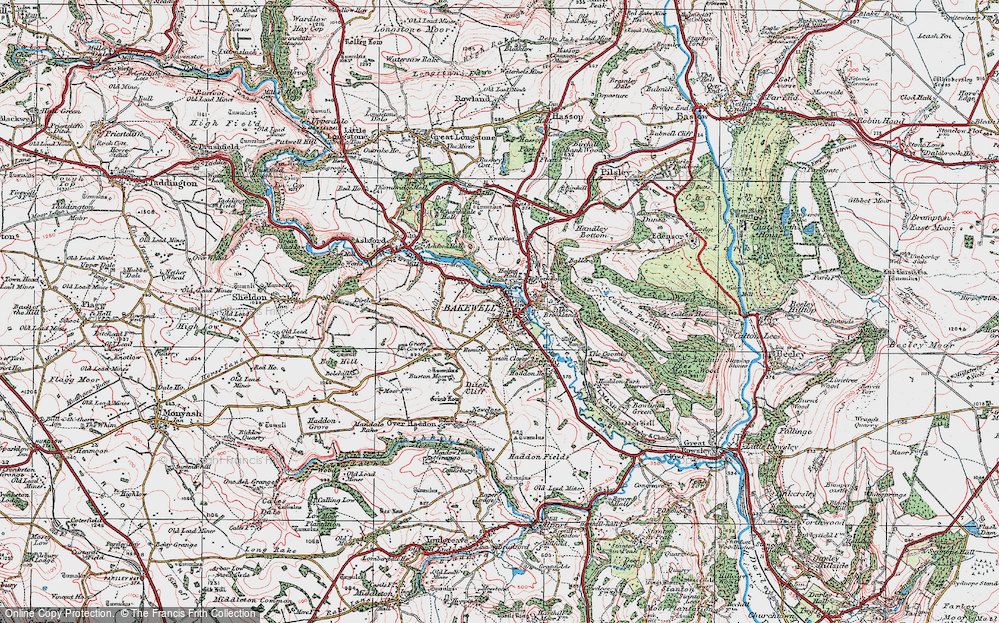 Old Map of Bakewell, 1923 in 1923