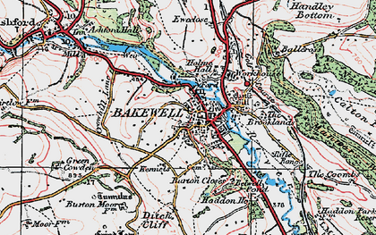 Old map of Bakewell in 1923