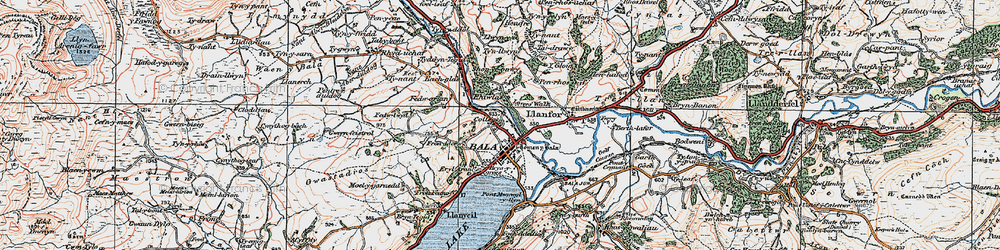 Old map of Bala in 1922