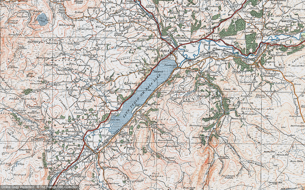 Old Map of Bala Lake Railway, 1921 in 1921