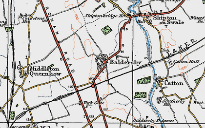 Old map of Baldersby in 1925