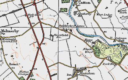 Old map of Baldersby St James in 1925