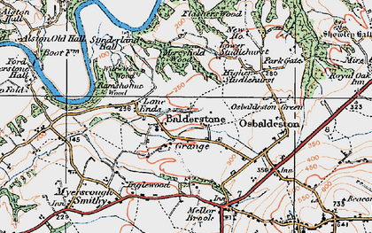 Old map of Balderstone in 1924