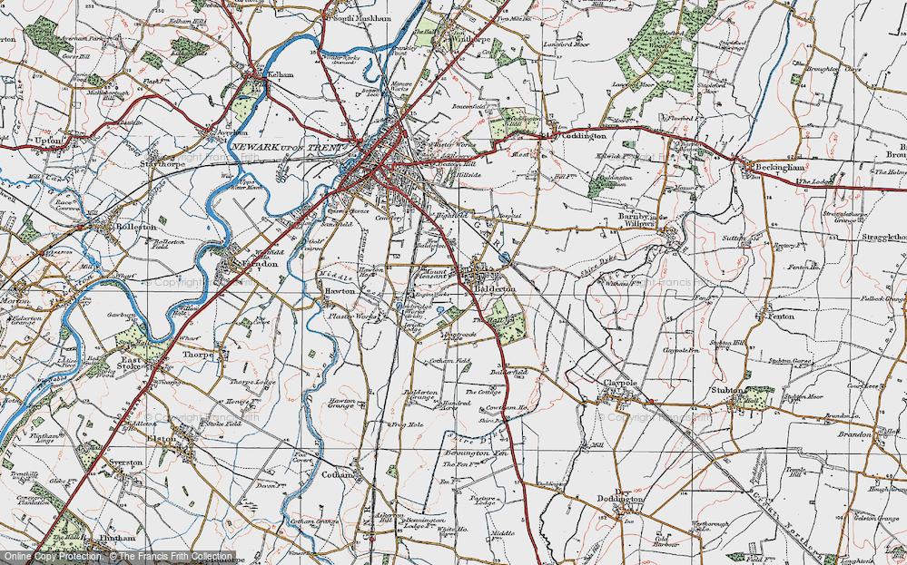 Old Map of Balderton, 1921 in 1921