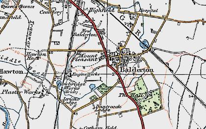 Old map of Balderton in 1921