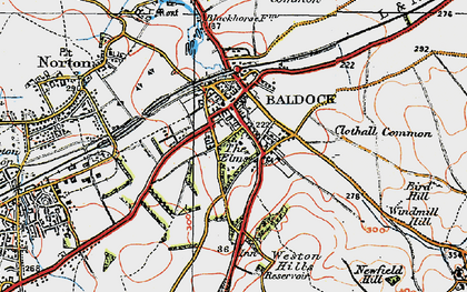Old map of Baldock in 1919
