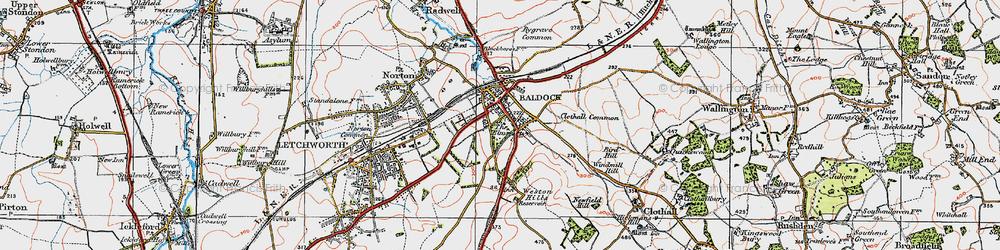 Old map of Baldock in 1919