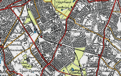 Old map of Balham in 1920