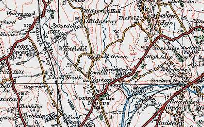 Old map of Ball Green in 1921