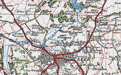 Old map of Ball Haye Green in 1923