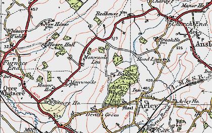 Old map of Ballard's Green in 1921