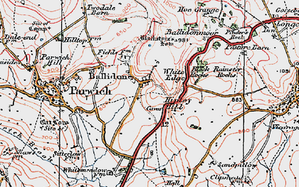 Old map of Ballidon in 1923