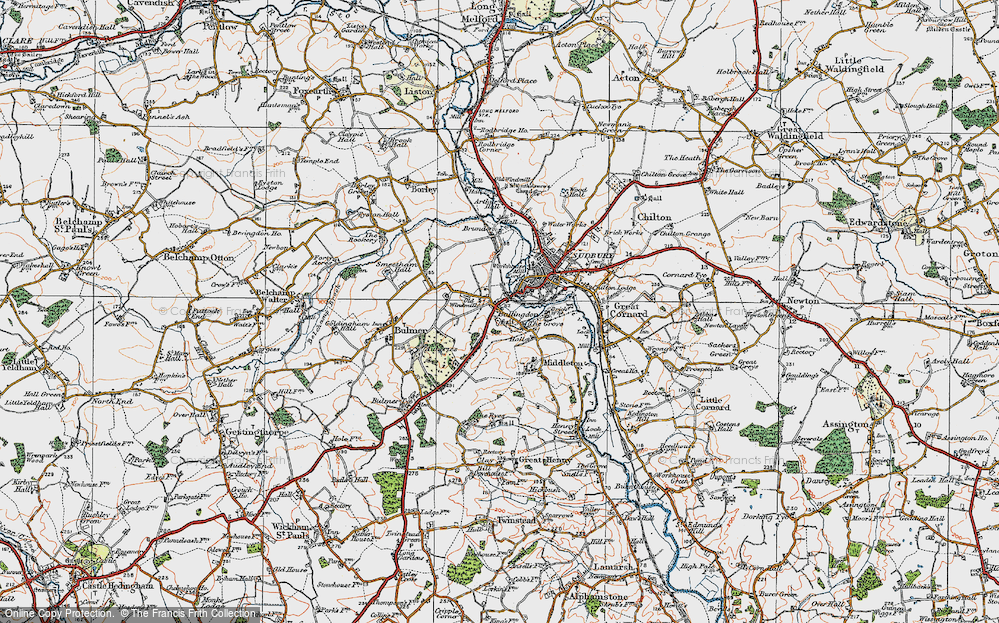 Old Map of Historic Map covering Ballingdon Grove in 1921