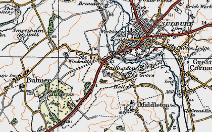 Old map of Ballingdon in 1921