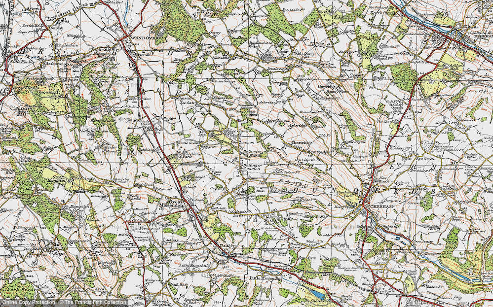 Old Map of Ballinger Common, 1920 in 1920