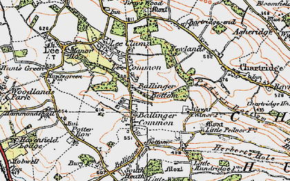 Old map of Ballinger Common in 1920