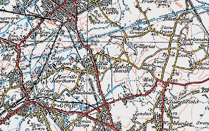 Old map of Balls Hill in 1921