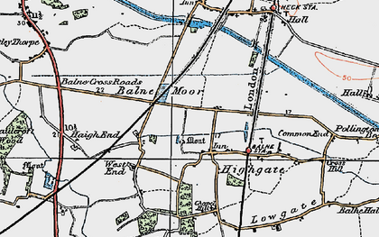 Old map of Balne Moor in 1924