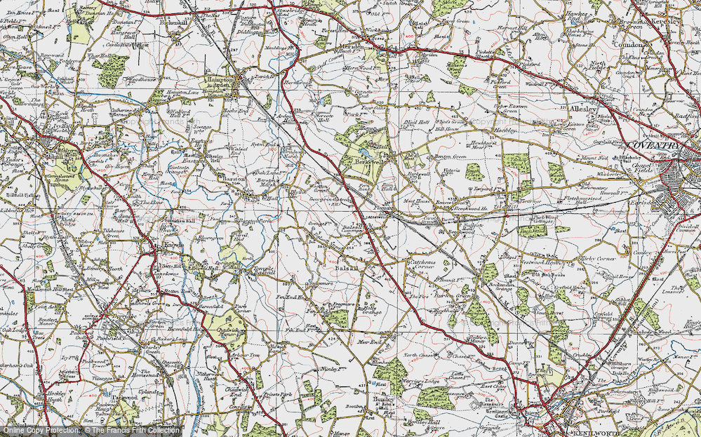 Old Map of Balsall Common, 1921 in 1921