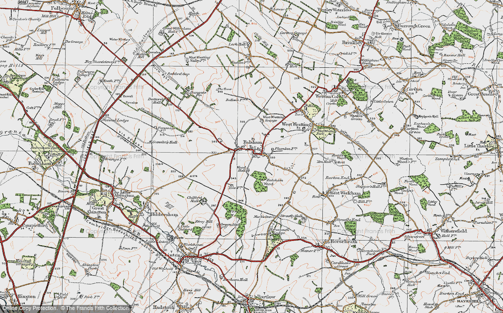 Old Map of Historic Map covering Balsham Wood in 1920
