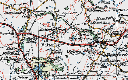 Old map of Balterley in 1921
