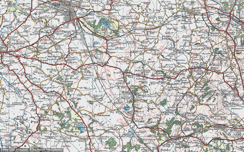 Old Map of Balterley Heath, 1921 in 1921