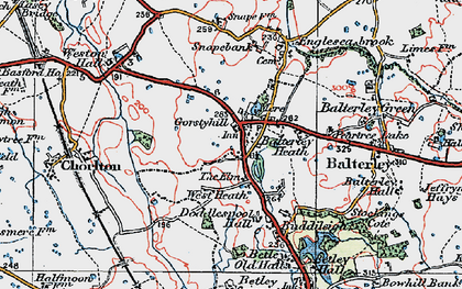 Old map of Balterley Heath in 1921